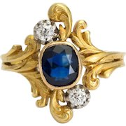 Antique Art Nouveau ring Diamond Sapphire 18 k yellow gold circa 1900