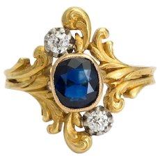 Original rare Art Nouveau ring Diamond Sapphire 18 k yellow gold circa 1900