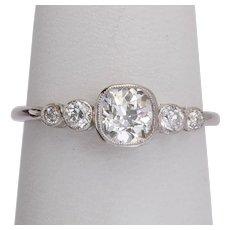 Antique Edwardian five stone ring 0.75 cwt diamonds platinum 900 circa 1910