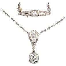 Antique Belle Epoque diamond platinum necklace circa 1910