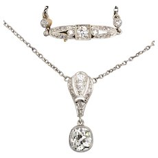 Splendid elegant  Belle Epoque diamond platinum necklace circa 1910
