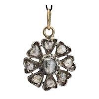 Antique Georgian diamond pendant silver and 18 k yellow gold circa 1820 s