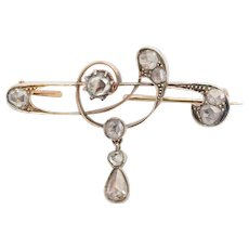 Antique Art Nouveau diamond brooch circa 1900