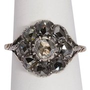 Antique Georgian diamond cluster ring gold and silver circa 1780