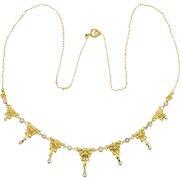 Art Nouveau necklace 18 karat yellow gold pearls circa 1900 s