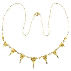 Art Nouveau necklace 18 karat yellow gold pearls circa 1900 s