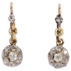 Antique diamond drop earrings 18 karat and silver Victorian circa 1890 s