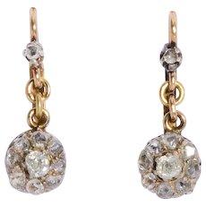 Antique diamond drop earrings 18 karat and silver Victorian circa 1890 s