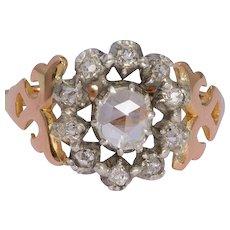 Antique Victorian diamond ring 18 karat yellow gold and silver top circa 1880 s