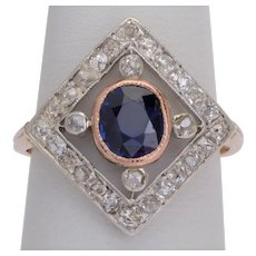 Antique Edwardian ring Sapphire Diamonds circa 1910