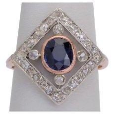 Antique Edwardian ring Sapphire Diamonds circa 1910