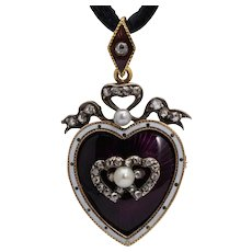 Antique Victorian diamond entwined hearts pendant/brooch/locket enamel pearl circa 1880 s