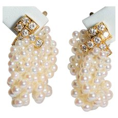 Splendid  French Van Cleef & Arpels diamonds pearls clip earrings 18 k yellow gold circa 1960-70