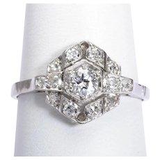 Art Deco 0.60 cwt diamonds engagement ring platinum 950 circa 1920