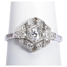 Art Deco 0.60 cwt diamonds engagement ring platinum 950 circa 1920