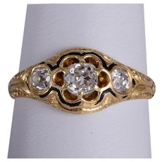 Antique Victorian 0.90 cwt old mine diamonds ring  18 karat yellow gold circa 1870