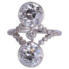 """Antique """" Toi et Moi"""" 4.30 cwt diamond ring platinum 900 circa 1910"""