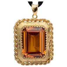 24 carats Madera Citrin pendant 18 k yellow gold Vintage circa 1960