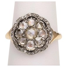 Antique Georgian rose cut diamonds ring14 karat yellow gold silver circa 1810-20
