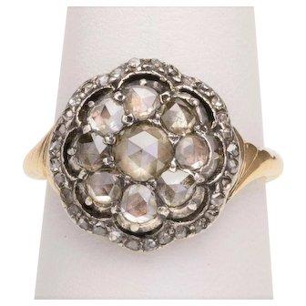 Antique Georgian rose cut diamonds ring14 karat yellow gold silver circa 1810-20