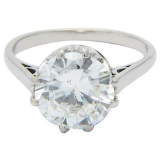 G.I.A. 3.29 ct Diamond ring F / SI 1  Platinum 950
