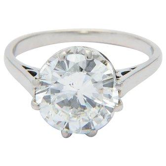 G.I.A. 3.29 ct Diamond ring F / SI 1  Platinum 950