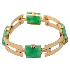 Jade bracelet 18 karat yellow gold  natural untreated /  Lab report   Art Deco circa 1930