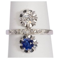 "Art Deco ring diamond sapphire ""you and Me"" design circa 1915 s"