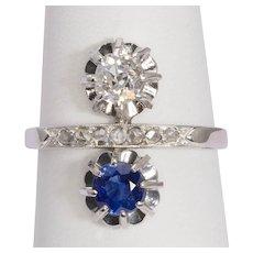 "Diamond sapphire ""you and Me"" ring circa 1915 s"
