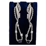 Elegant Diamond Sapphire long drop earrings circa 1960-70