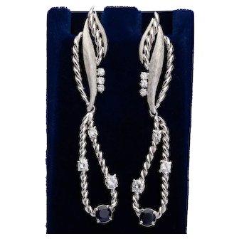 Summer Elegant long drop Diamond Sapphire earrings circa 1960-70
