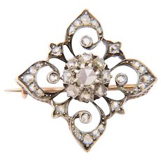 Diamond antique brooch gold and silver circa 1860