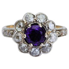 Sparkling 1.70 cwt diamonds 1.00 carat deep purple Amethyst ring circa 1890