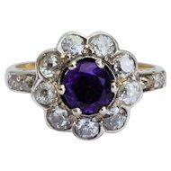 Victorian Sparkling 1.70 cwt diamonds 1.00 carat deep purple Amethyst ring circa 1890