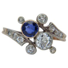 "Elegant engagement ring "" you and me "" diamonds sapphire Art Nouveau circa 1890"