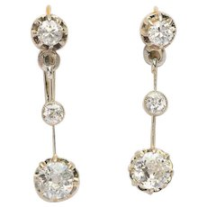 Sparkling 1.20 cwt diamond long drop earrings circa 1910 s