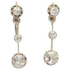 Sparkling 1.20 cwt diamond long drop earrings circa 1910 s