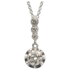 Super elegant sparkling 0.70 cwt diamond necklace platinum 950 circa 1915
