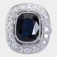Elegant  6.10 carat Sapphire 1.40 cwt diamond ring platinum 900 circa 1910