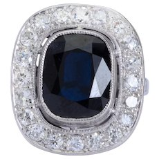 Super elegant  6.10 carat Sapphire and 1.40 cwt diamond ring platinum 900 circa 1910