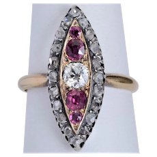 Antique ring Diamonds Pink Sapphires gold silver Victorian circa 1880