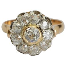 Sparkling 2.12 cwt diamonds engagement ring 18 karat yellow gold circa 1910