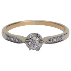Petite Diamond Engagement ring circa 1900