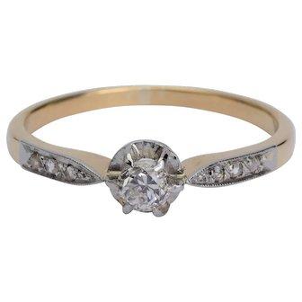 Petite Diamond Engagement ring circa 1900