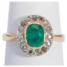 Antique Diamond and Colombian Emerald ring Victorian circa 1890