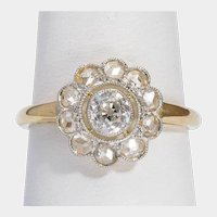 Antique Diamond ring 18 karat yellow gold platinum top circa 1910