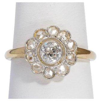 Antique Diamond ring 18 karat yellow gold platinum top circa 1910