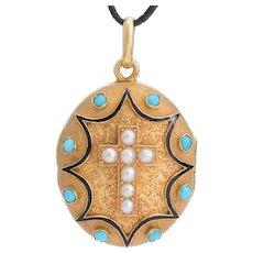 Antique French locket pendant 18 karat yellow gold natural pearl turquoise black enamel  Victorian circa 1880