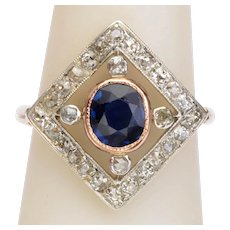 Antique diamond sapphire ring 18 karat gold platinum circa 1910
