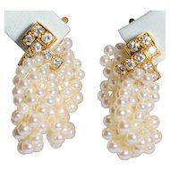 Van Cleef & Arpels diamonds pearls clip earrings 18 k yellow gold circa 1960-70 fully hallmarked